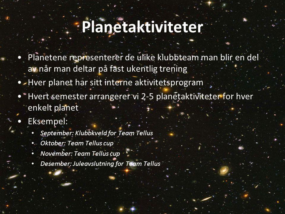Planetaktiviteter Planetene representerer de ulike klubbteam man blir en del av når man deltar på fast ukentlig trening.