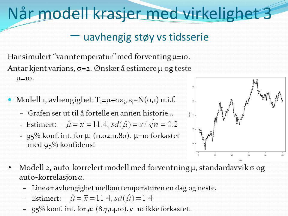 Når modell krasjer med virkelighet 3 – uavhengig støy vs tidsserie