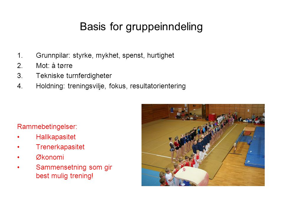 Basis for gruppeinndeling