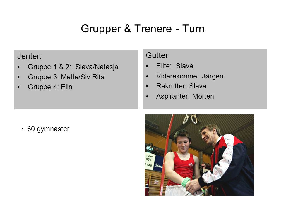 Grupper & Trenere - Turn