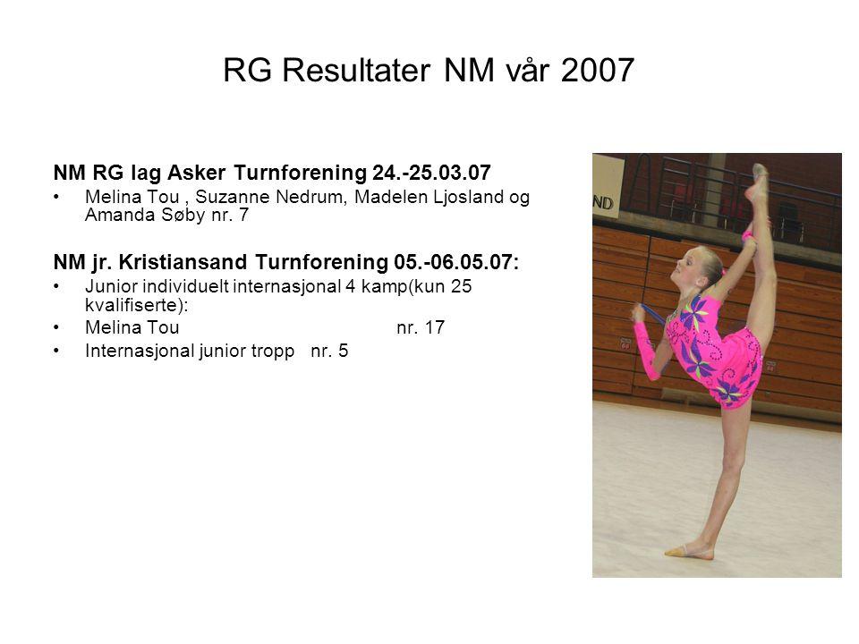 RG Resultater NM vår 2007 NM RG lag Asker Turnforening 24.-25.03.07