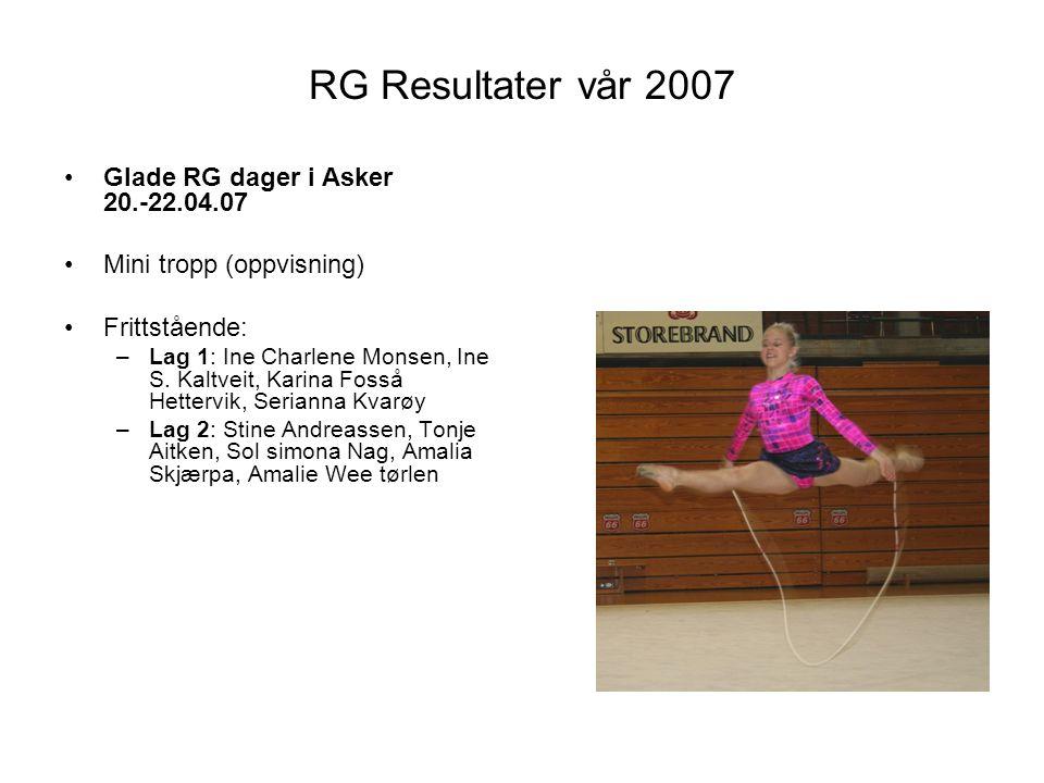RG Resultater vår 2007 Glade RG dager i Asker 20.-22.04.07
