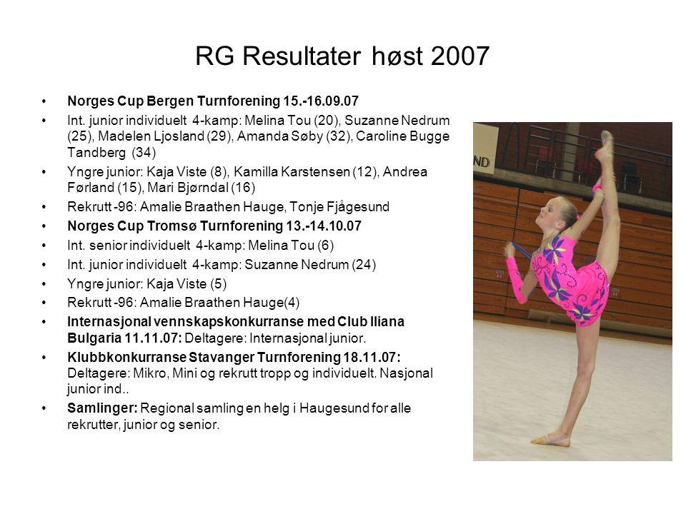 RG Resultater høst 2007 Norges Cup Bergen Turnforening 15.-16.09.07