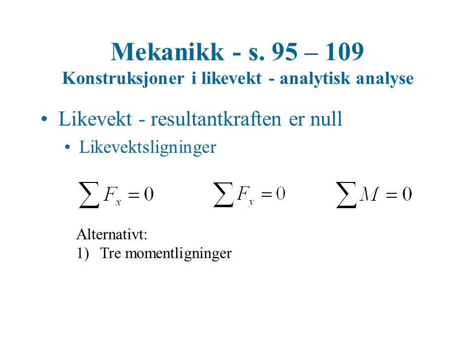 Mekanikk - s. 95 – 109 Konstruksjoner i likevekt - analytisk analyse
