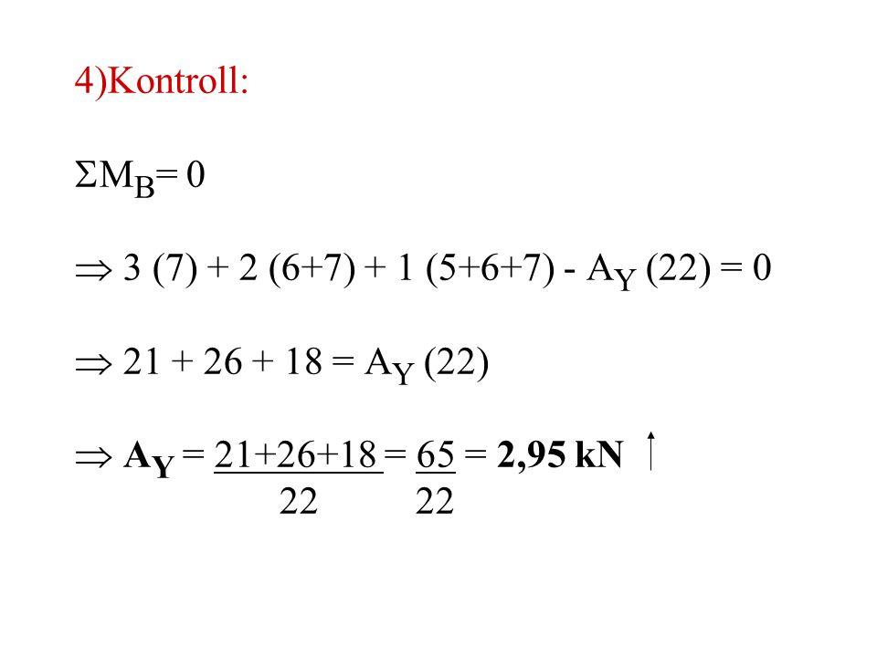 4) Kontroll: MB= 0.  3 (7) + 2 (6+7) + 1 (5+6+7) - AY (22) = 0.  21 + 26 + 18 = AY (22)  AY = 21+26+18 = 65 = 2,95 kN.