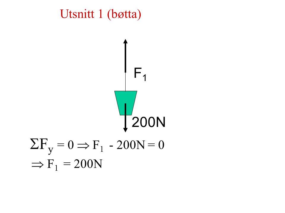 Utsnitt 1 (bøtta) Fy = 0  F1 - 200N = 0  F1 = 200N F1 200N