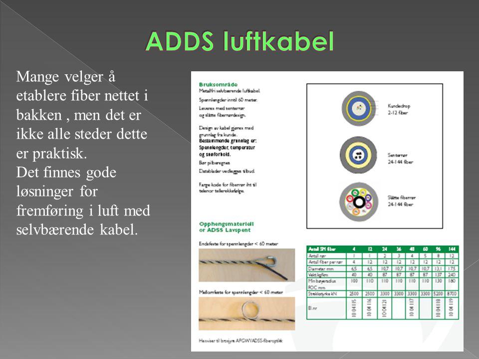 ADDS luftkabel Mange velger å etablere fiber nettet i bakken , men det er ikke alle steder dette er praktisk.