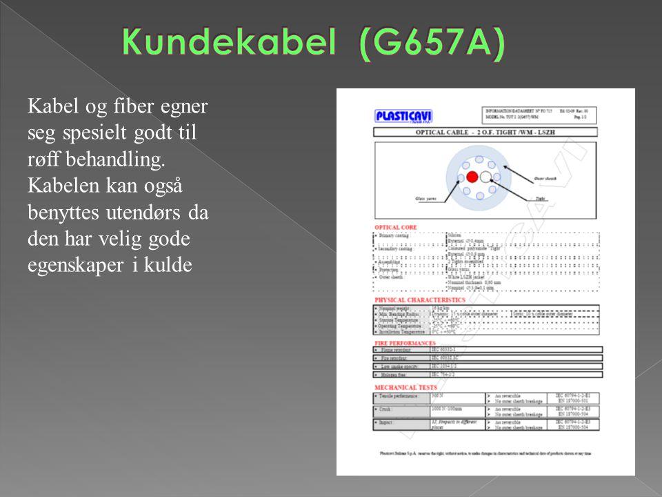 Kundekabel (G657A) Kabel og fiber egner seg spesielt godt til røff behandling.