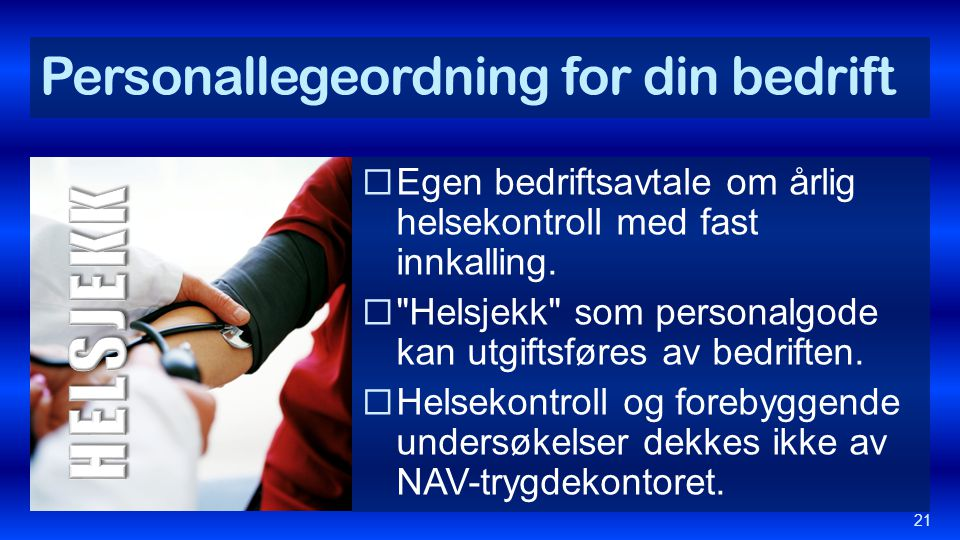 Personallegeordning for din bedrift