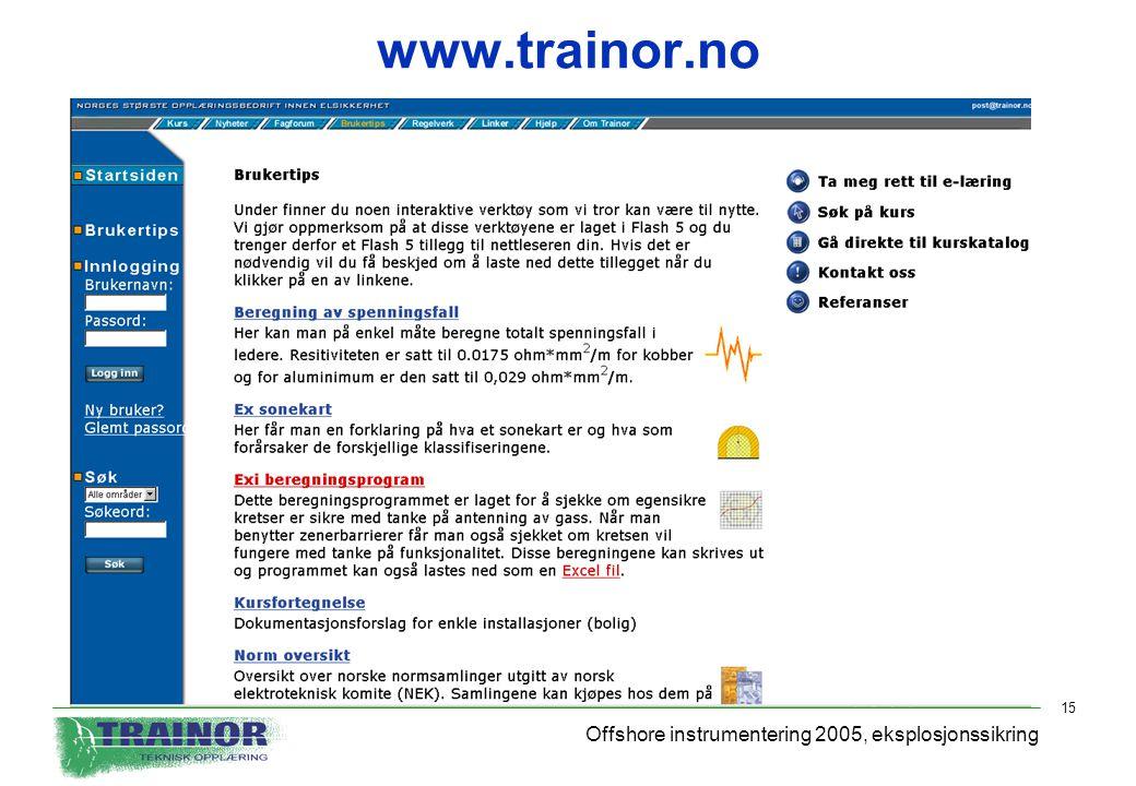 www.trainor.no Offshore instrumentering 2005, eksplosjonssikring