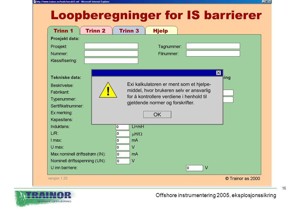 Offshore instrumentering 2005, eksplosjonssikring
