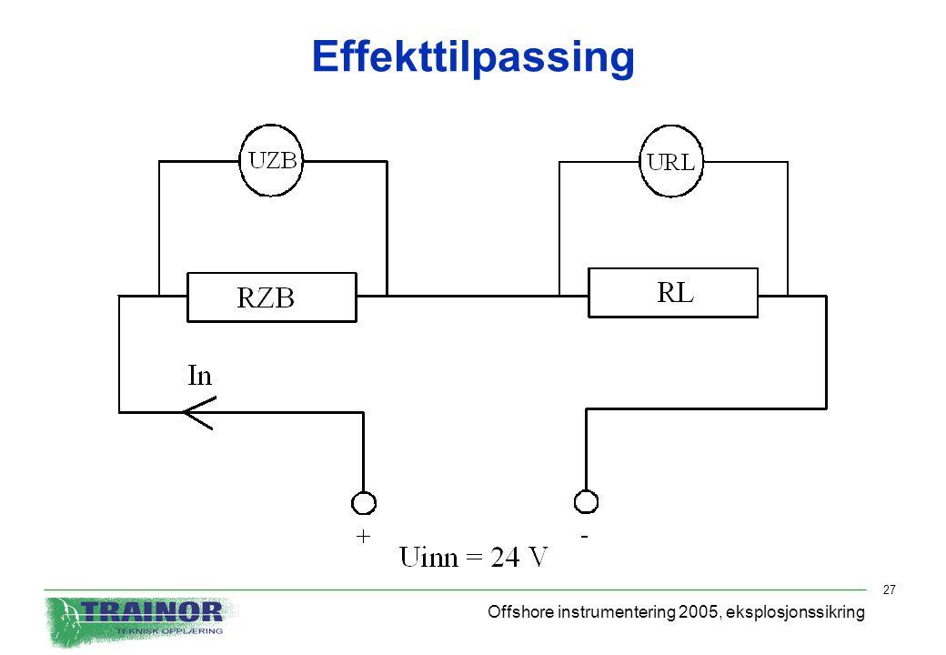Effekttilpassing Offshore instrumentering 2005, eksplosjonssikring