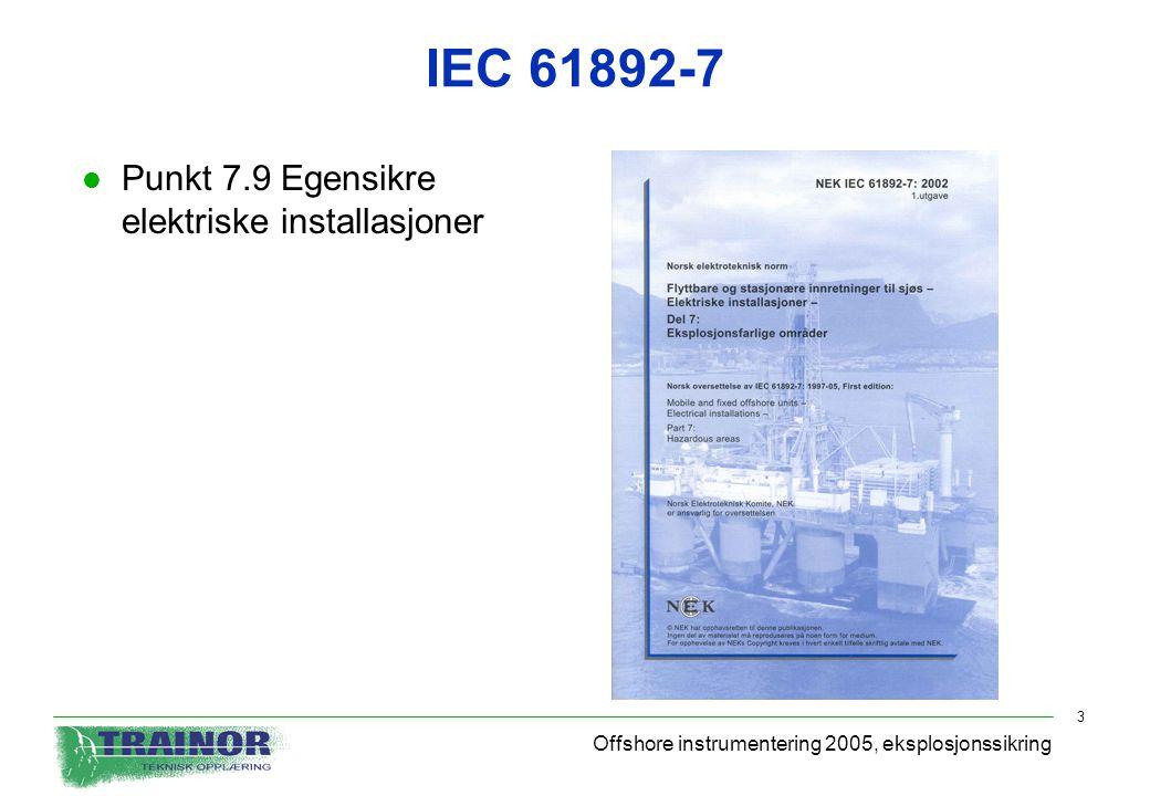 IEC 61892-7 Punkt 7.9 Egensikre elektriske installasjoner