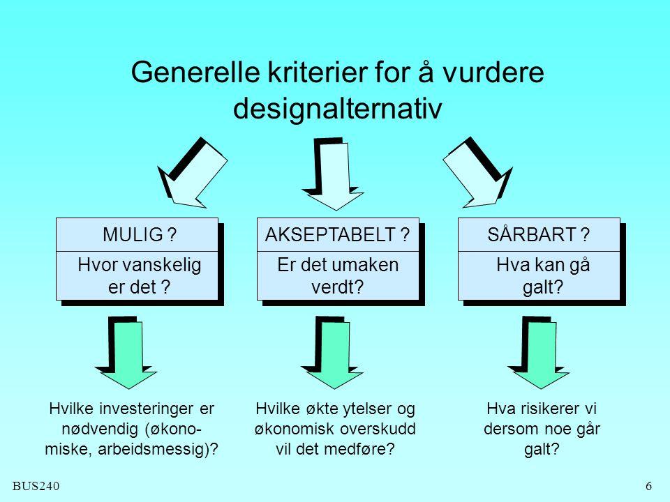 Generelle kriterier for å vurdere designalternativ