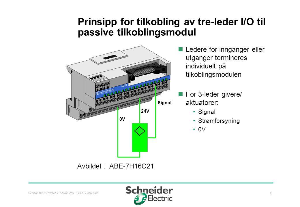 Prinsipp for tilkobling av tre-leder I/O til passive tilkoblingsmodul