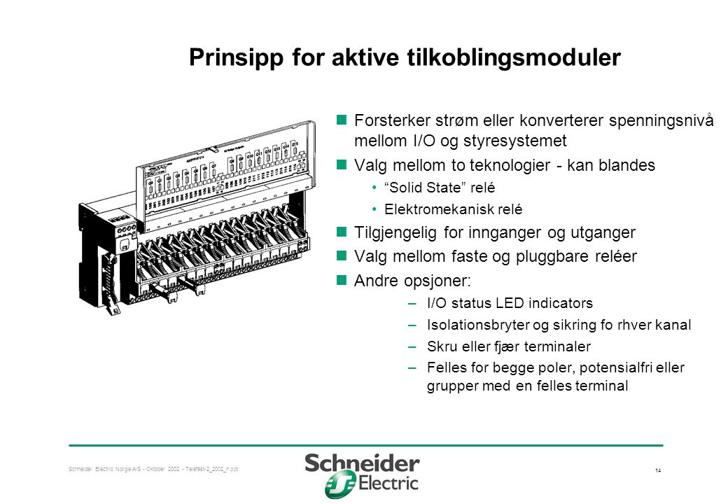 Prinsipp for aktive tilkoblingsmoduler