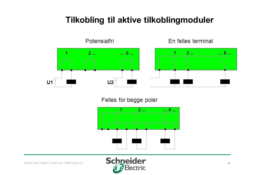 Tilkobling til aktive tilkoblingmoduler