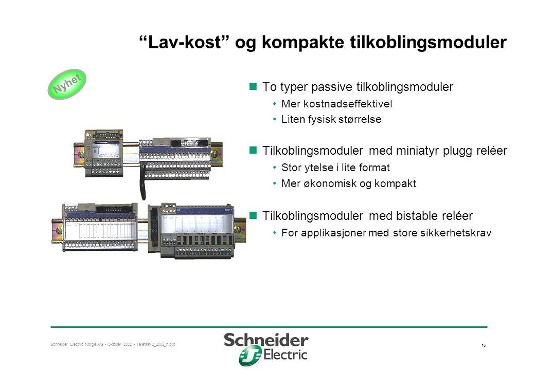 Lav-kost og kompakte tilkoblingsmoduler