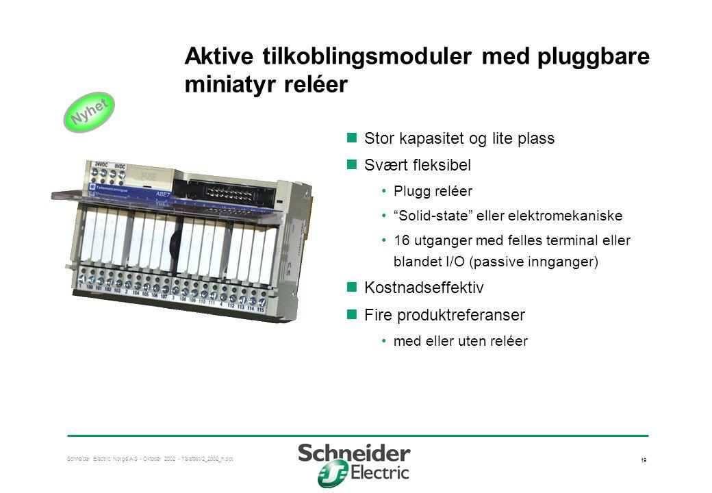 Aktive tilkoblingsmoduler med pluggbare miniatyr reléer