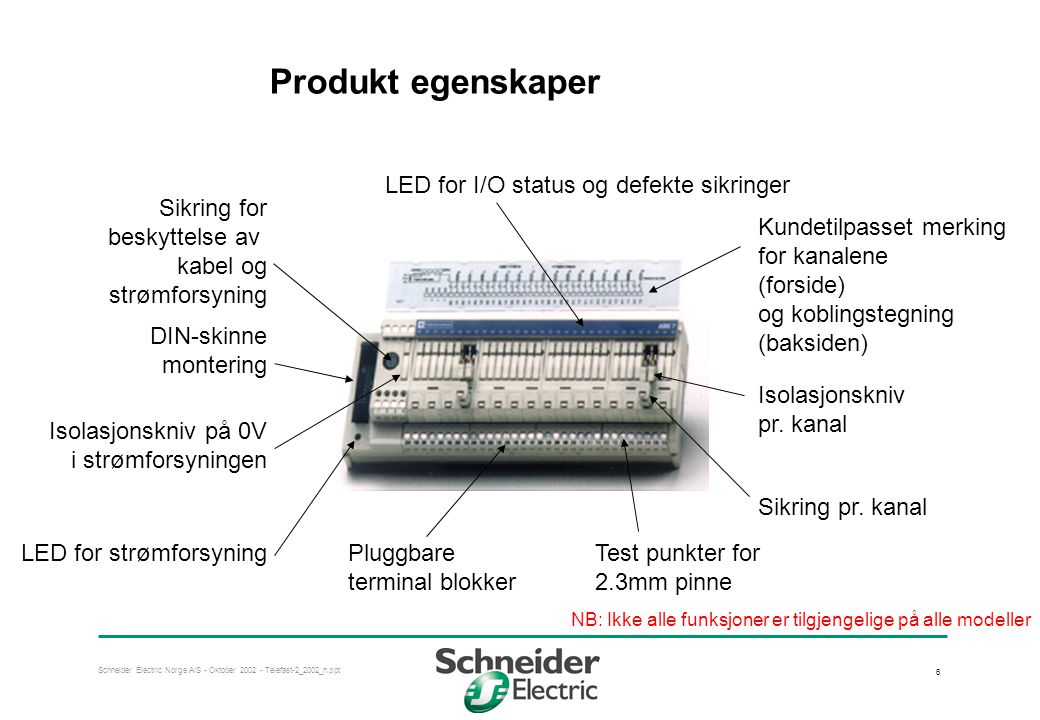 Produkt egenskaper LED for I/O status og defekte sikringer Sikring for