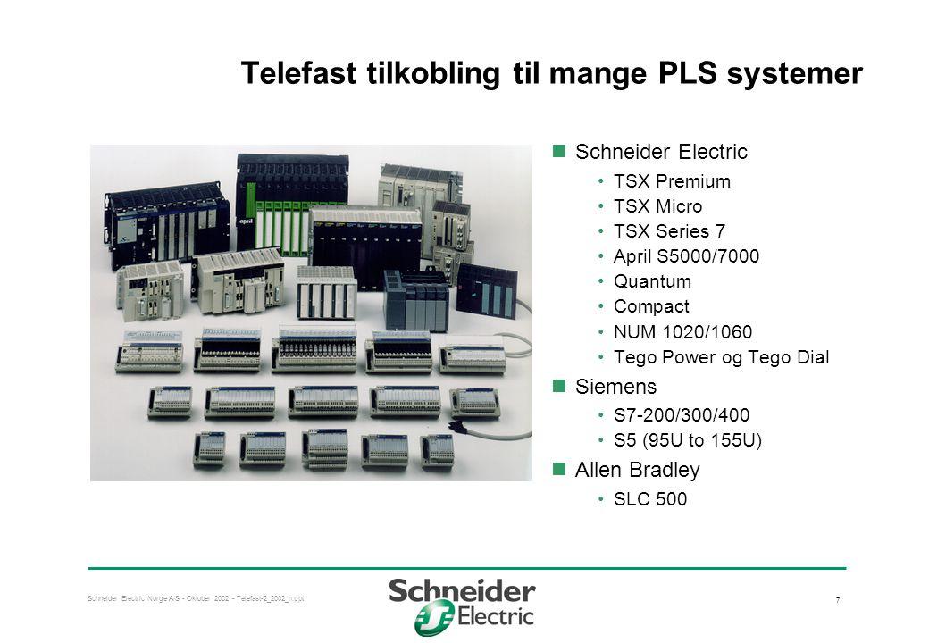 Telefast tilkobling til mange PLS systemer