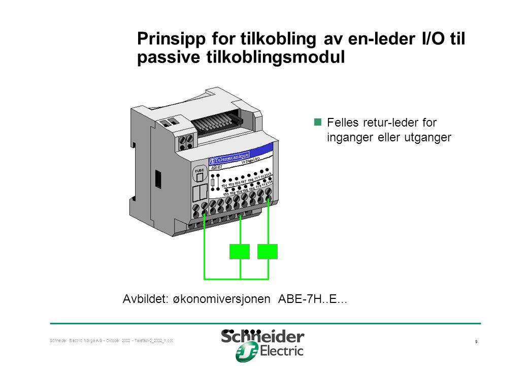 Prinsipp for tilkobling av en-leder I/O til passive tilkoblingsmodul