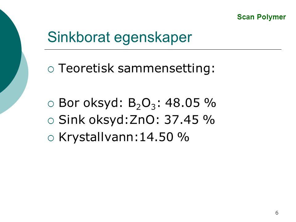 Sinkborat egenskaper Teoretisk sammensetting: Bor oksyd: B2O3: 48.05 %
