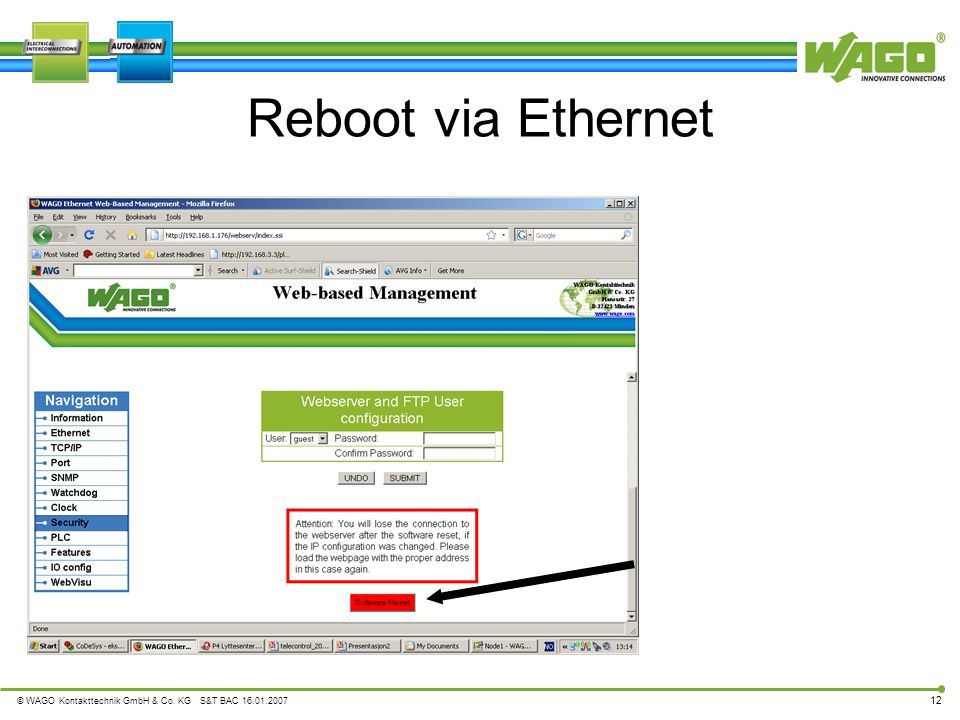 Reboot via Ethernet