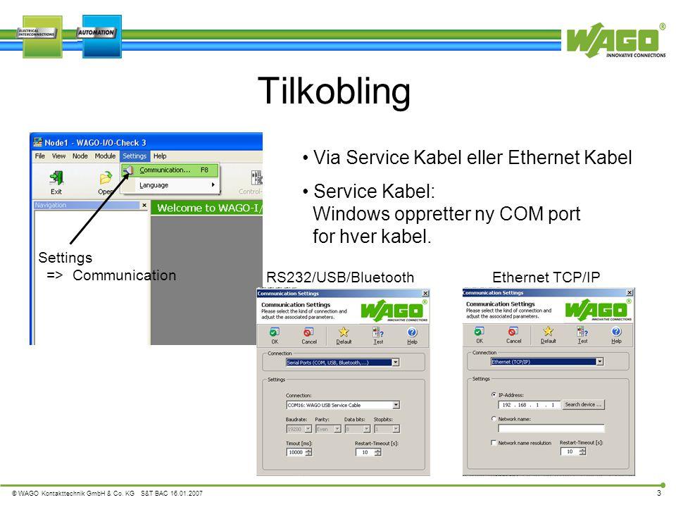 Tilkobling Via Service Kabel eller Ethernet Kabel