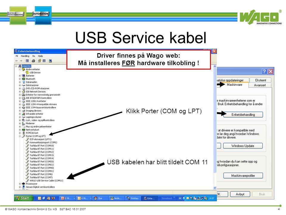 Driver finnes på Wago web: Må installeres FØR hardware tilkobling !