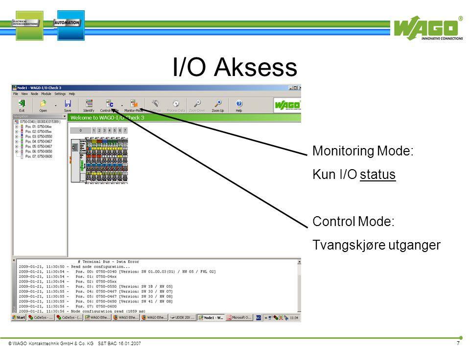I/O Aksess Monitoring Mode: Kun I/O status Control Mode: