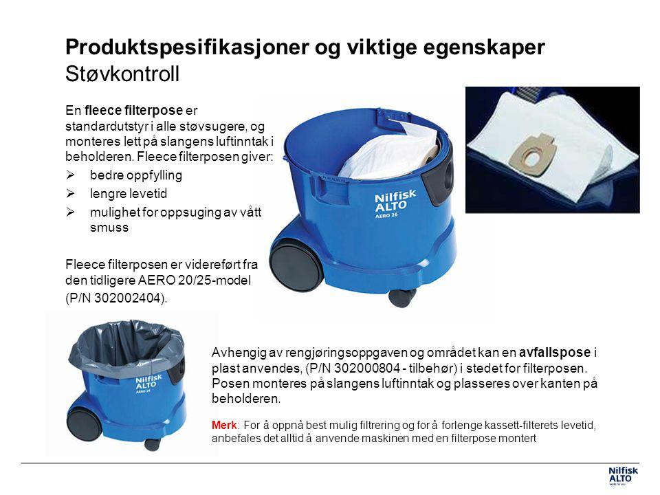 Produktspesifikasjoner og viktige egenskaper Støvkontroll