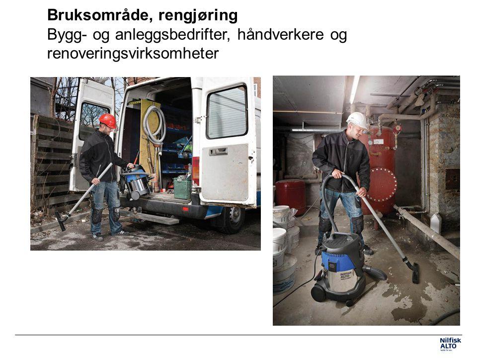 Bruksområde, rengjøring Bygg- og anleggsbedrifter, håndverkere og renoveringsvirksomheter