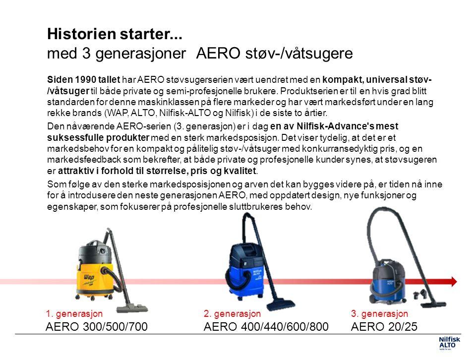 Historien starter... med 3 generasjoner AERO støv-/våtsugere