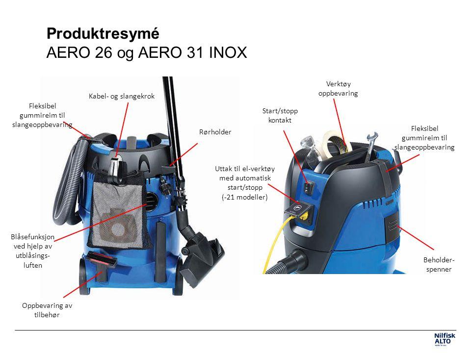 Produktresymé AERO 26 og AERO 31 INOX