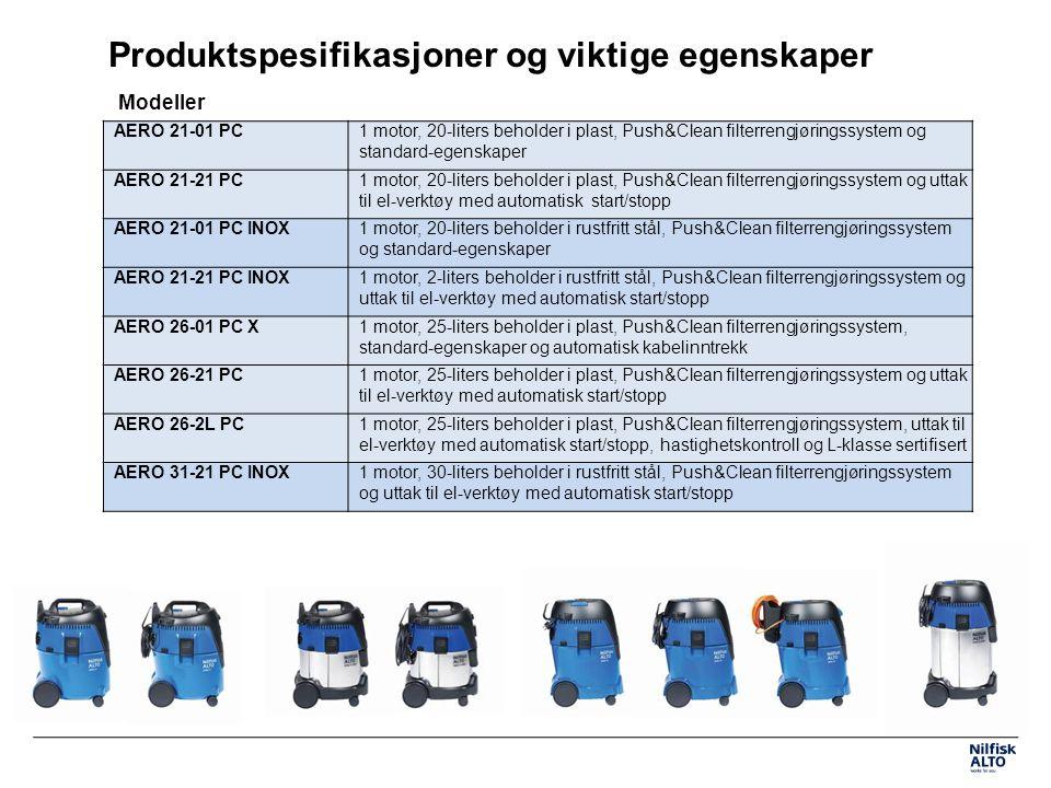 Produktspesifikasjoner og viktige egenskaper Modeller