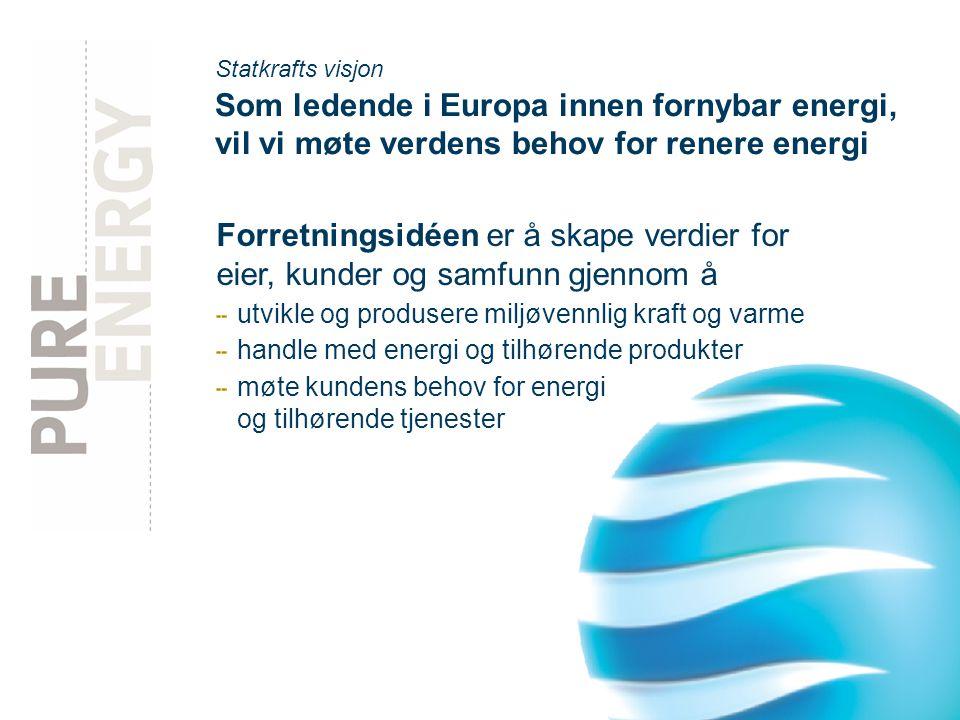 Statkrafts visjon Som ledende i Europa innen fornybar energi, vil vi møte verdens behov for renere energi.