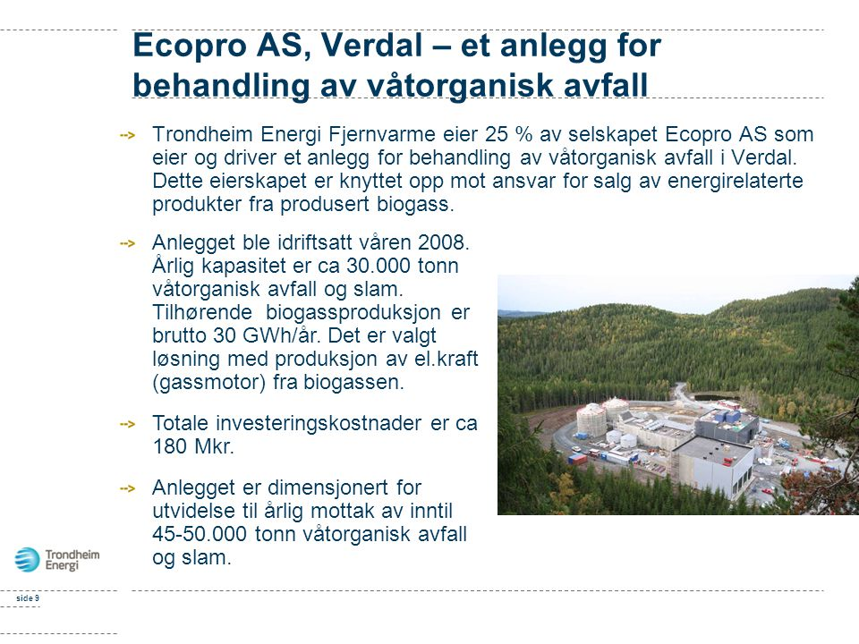 Ecopro AS, Verdal – et anlegg for behandling av våtorganisk avfall