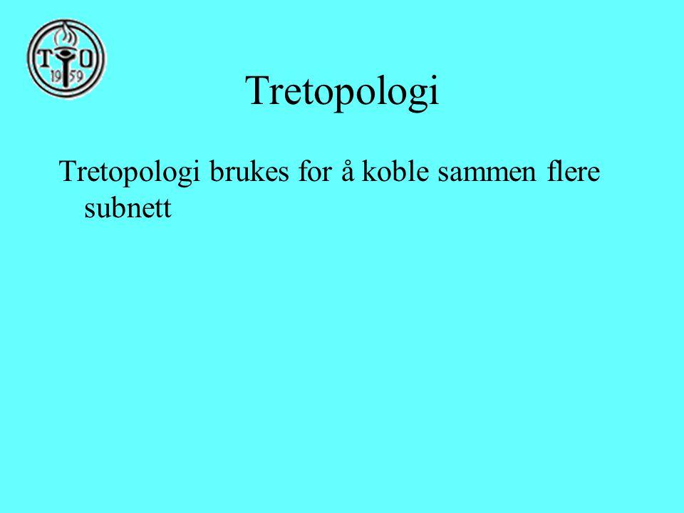 Tretopologi Tretopologi brukes for å koble sammen flere subnett