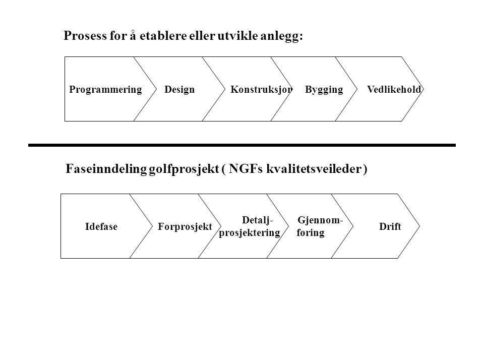 Prosess for å etablere eller utvikle anlegg: