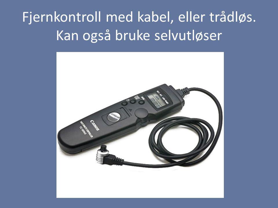 Fjernkontroll med kabel, eller trådløs. Kan også bruke selvutløser