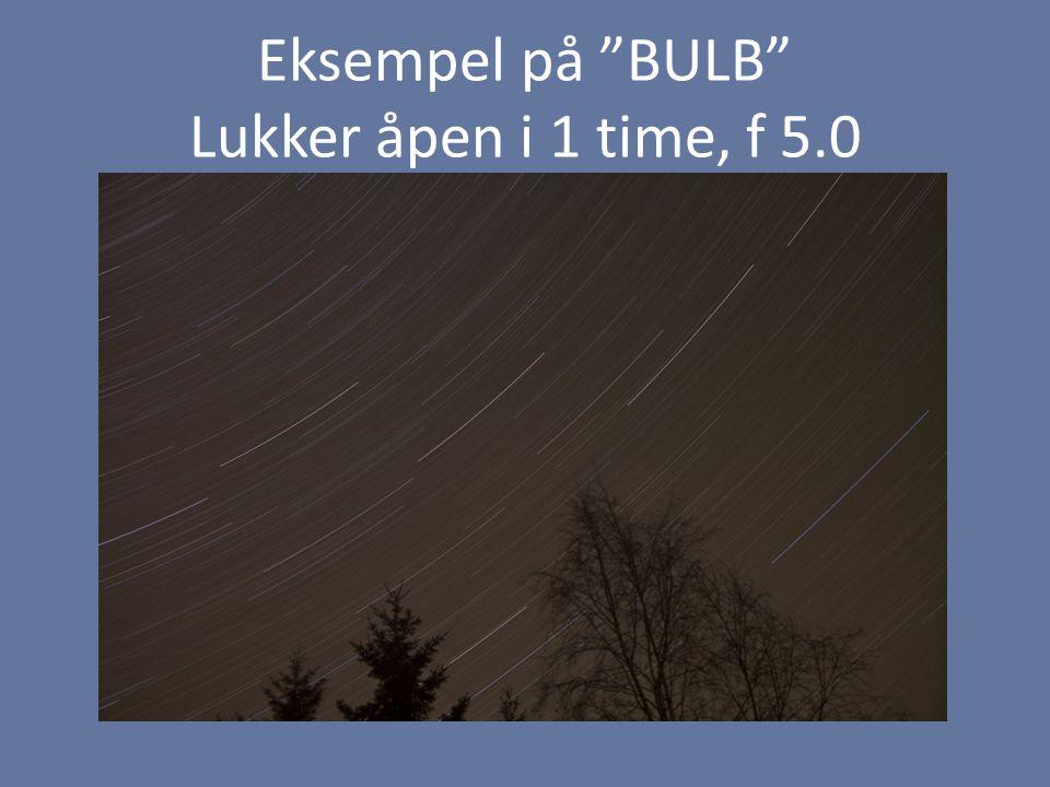 Eksempel på BULB Lukker åpen i 1 time, f 5.0