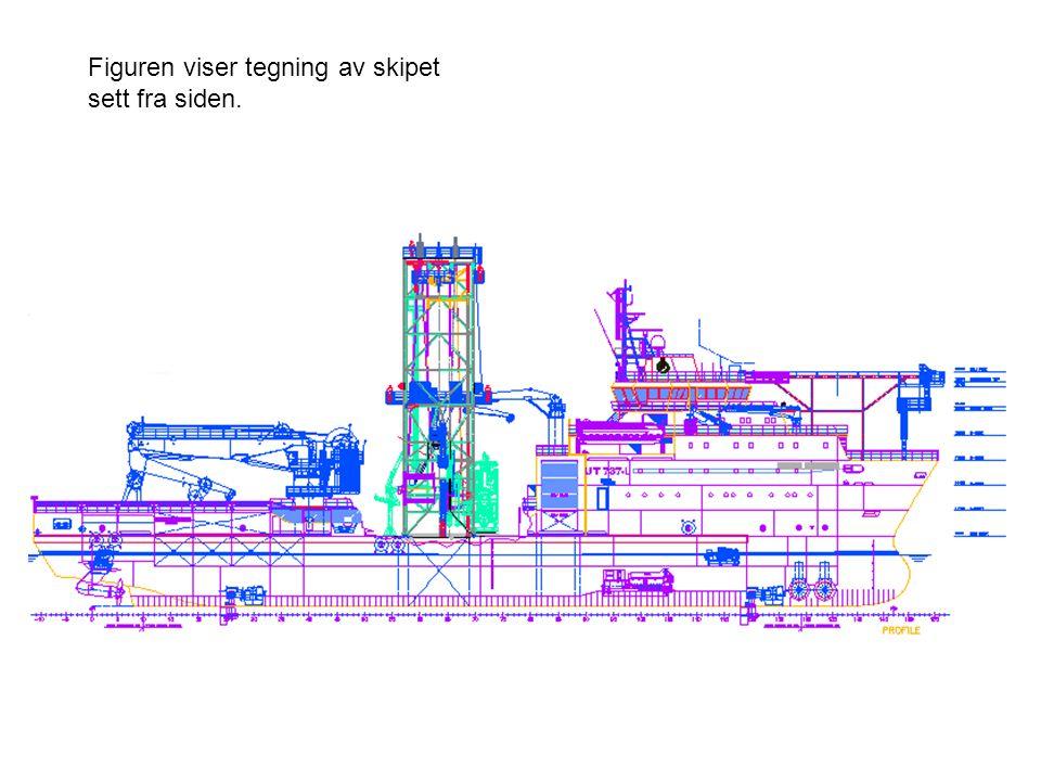 Figuren viser tegning av skipet sett fra siden.