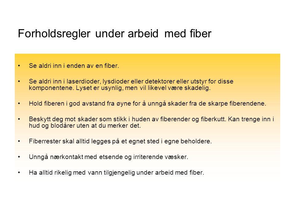 Forholdsregler under arbeid med fiber