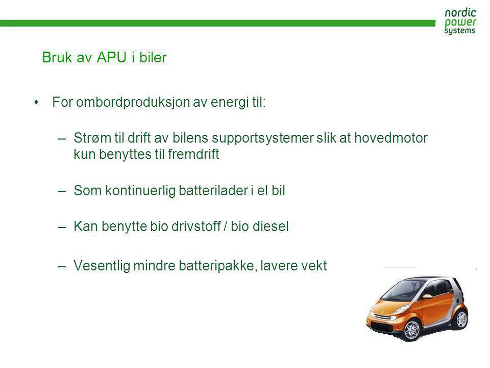 Bruk av APU i biler For ombordproduksjon av energi til: