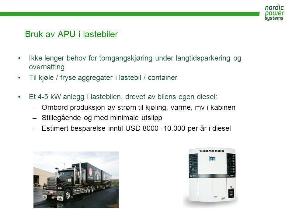 Bruk av APU i lastebiler