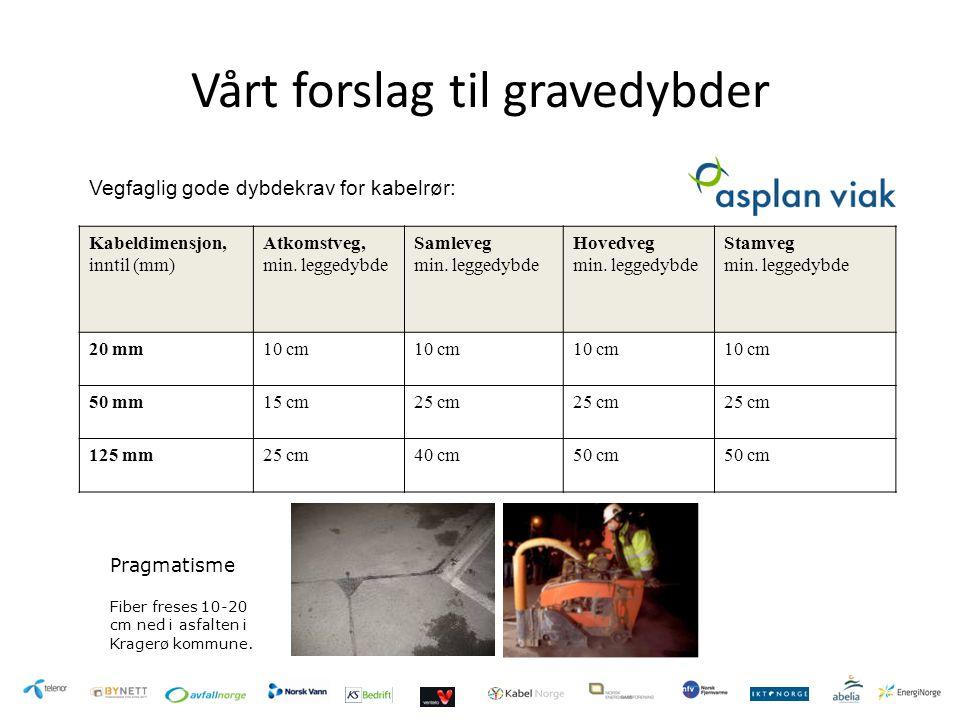 Vårt forslag til gravedybder