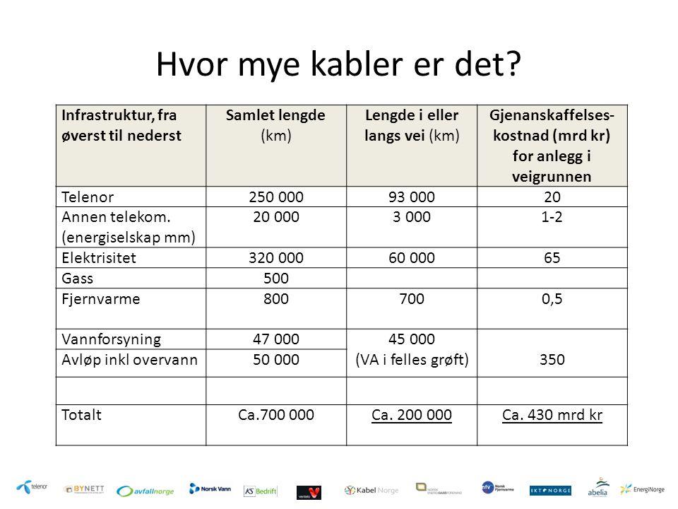 Gjenanskaffelses-kostnad (mrd kr) for anlegg i veigrunnen