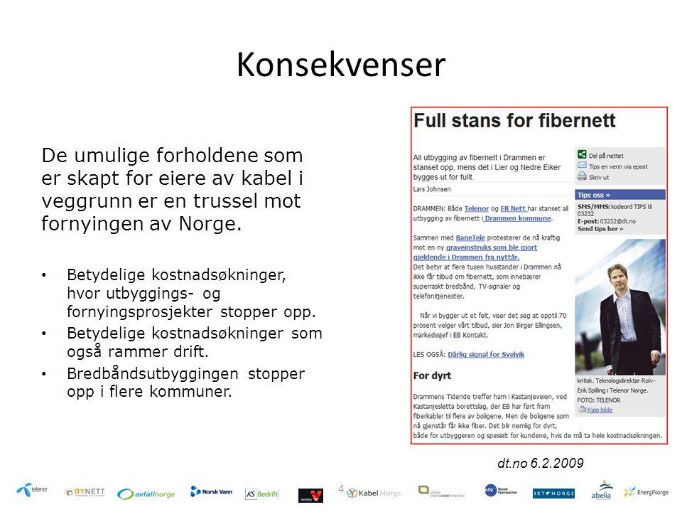 Konsekvenser De umulige forholdene som er skapt for eiere av kabel i veggrunn er en trussel mot fornyingen av Norge.