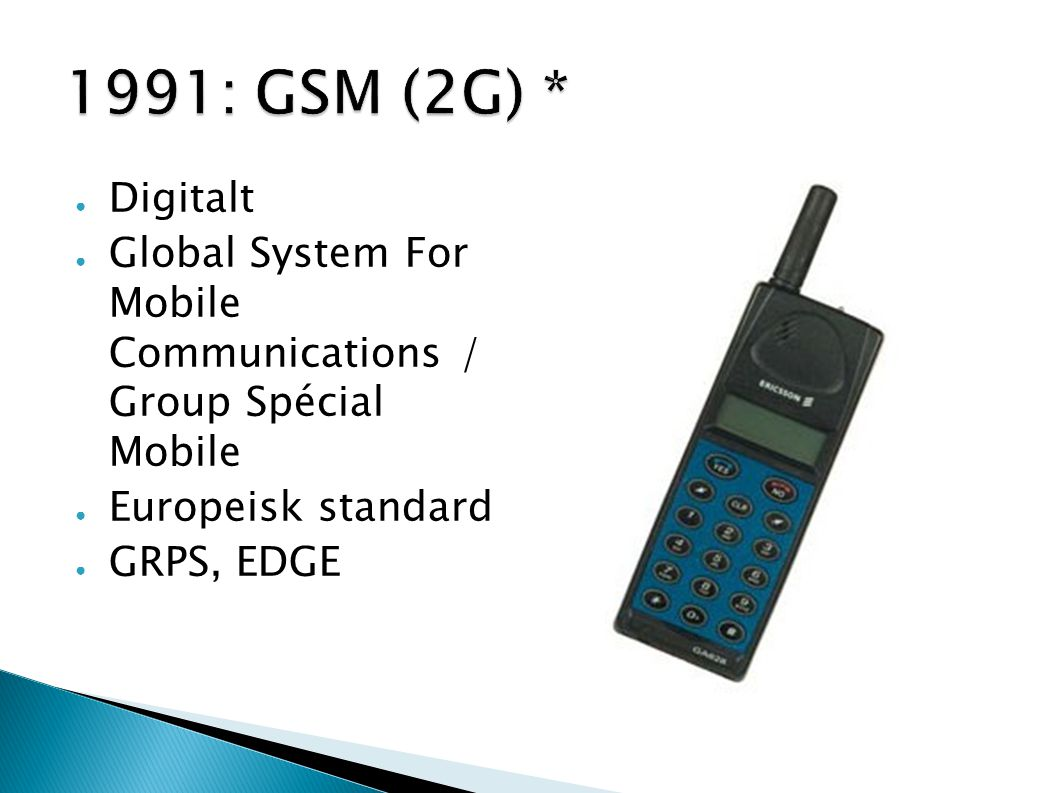 1991: GSM (2G) * Digitalt. Global System For Mobile Communications / Group Spécial Mobile. Europeisk standard.